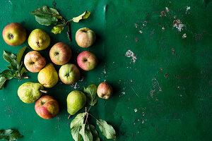 Äpfel und Birnen mit Blättern auf grünem Untergrund