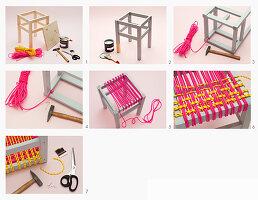 Hocker mit selbst gewebter Sitzfläche aus Seil, Anleitung