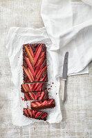 Vegane Rhabarber-Brownies mit Pekanüssen