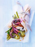 Small octopus and grilled fennel kebab