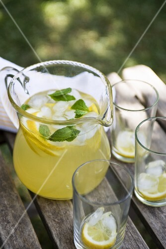 Lemonade with mint in a jug