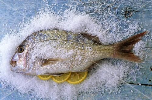 Bream on sea salt with lemon