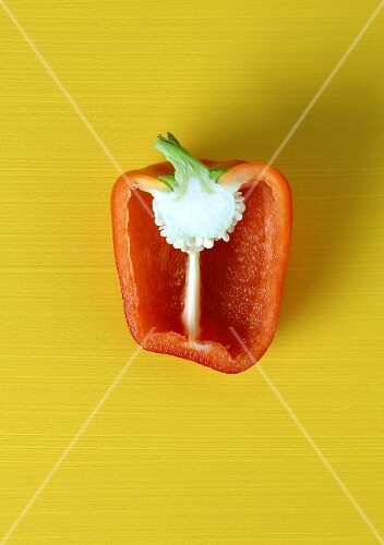 Half a red pepper seen from above