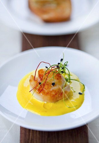 Scallops in saffron sauce with sprouts