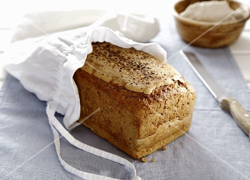 Tin loaf bread in a bread sack