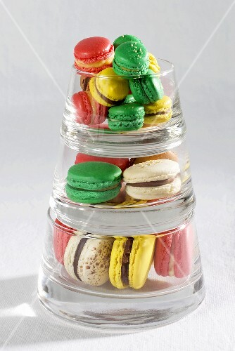 A pyramid of macaroons in glass bowls