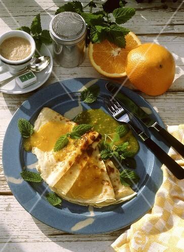 Crepe suzette with orange liqueur
