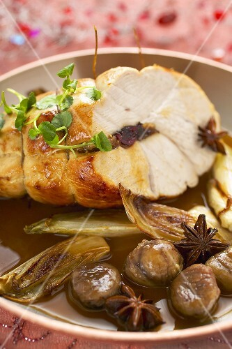 Stuffed turkey breast with chestnuts, star anise & chicory