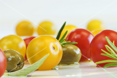 Cherry tomatoes, olives, sage and rosemary