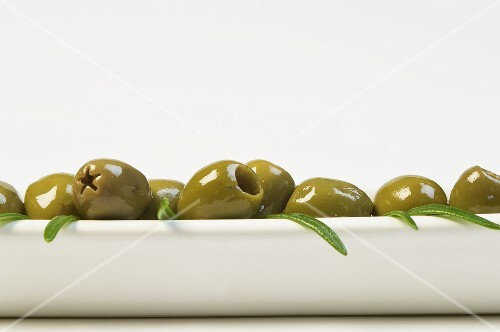 Green olives and rosemary