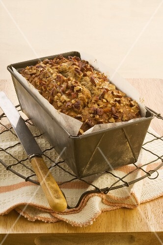 Banana and pecan nut cake in a loaf tin