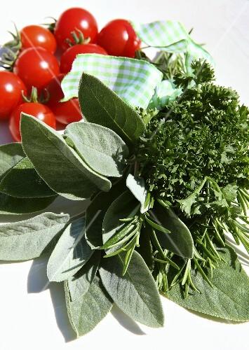 Fresh herbs and tomatoes
