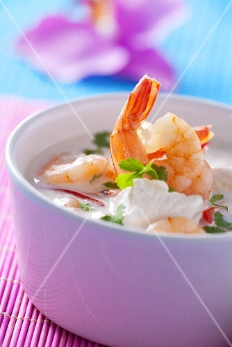 Prawn soup with sour cream (Thailand)