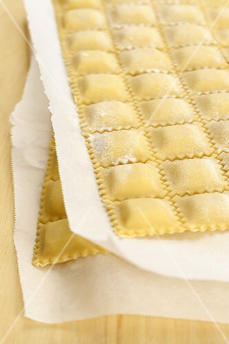 Home-made ravioli on paper