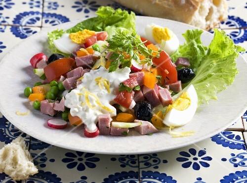 Ham salad with egg and yogurt dressing