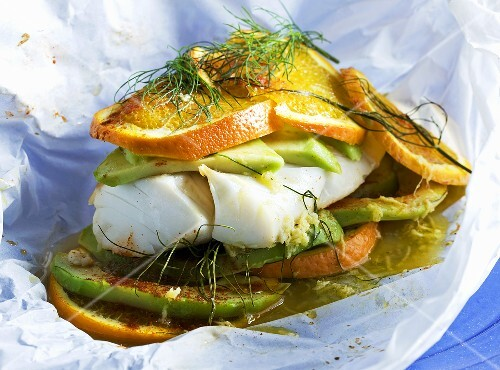 Cod with orange baked in foil
