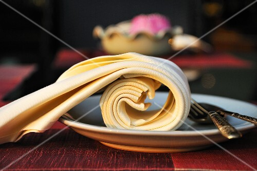A plate with a napkin