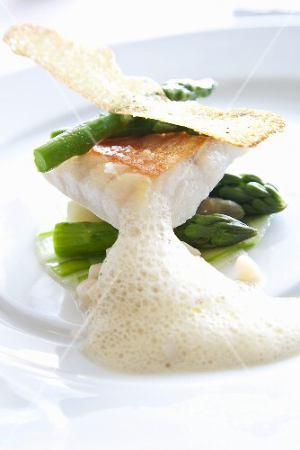 Sea bass with asparagus and crab foam