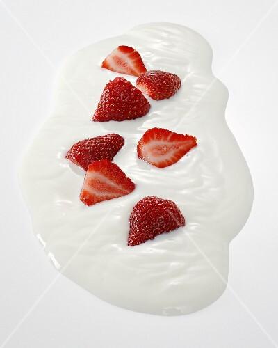 A splash of yogurt with strawberries