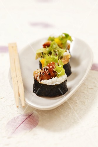 Three maki with baked fish
