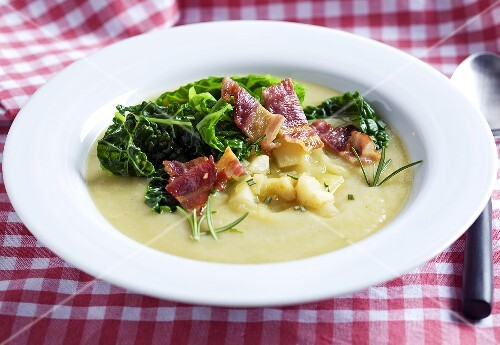 Celery soup with bacon and savoy cabbage