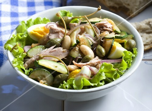 Tuna salad with white beans, eggs and capers