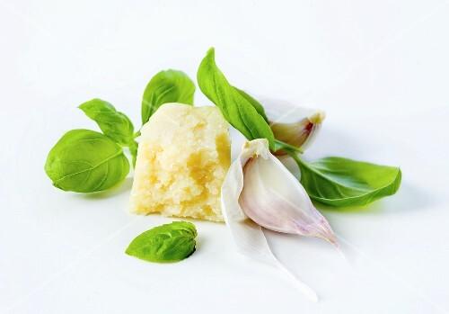 Grana Padano cheese, basil and garlic