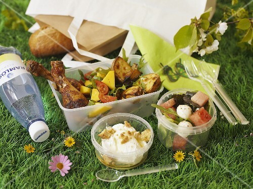 A picnic with chicken and salad on a field