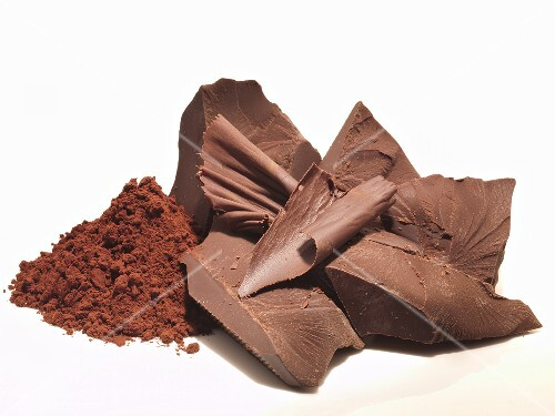 Pieces of chocolate and cocoa powder