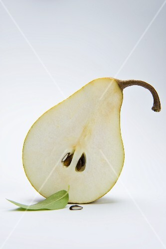 Half a pear with a leaf