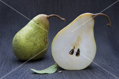 A half and a whole pear