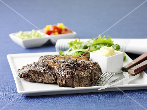 Entrecote with a side salad