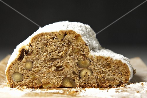 Stollen with hazelnuts and raisins, sliced