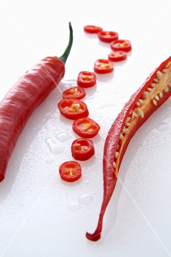 Red chilli peppers and chilli rings