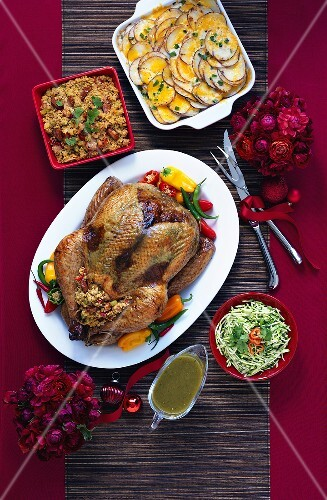 Tex-Mex style roast turkey and side dishes (viewed from above)