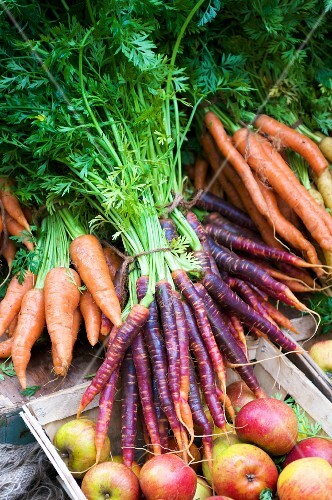 Fresh carrots and apples at the market