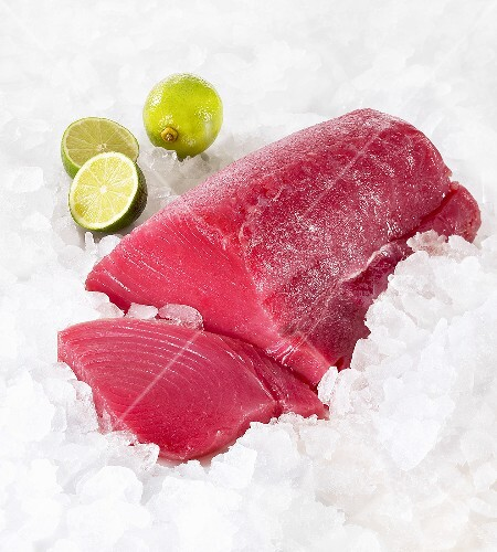 Tuna fish fillet on ice