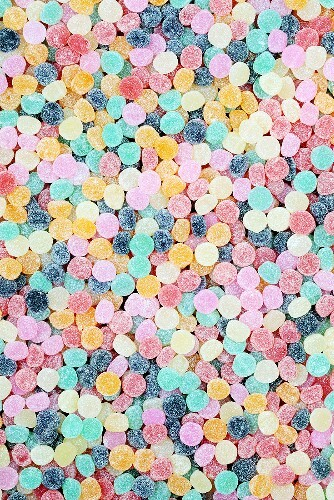 Lots of brightly colored chewy candies