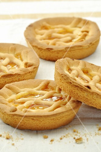 Four peach tarts