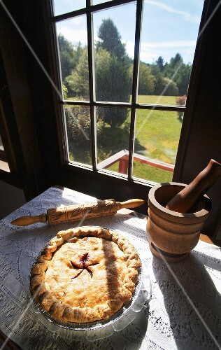 Cranberry Blueberry Pie Cooling by a Window