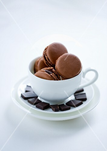 Chocolate macaroons in a cup