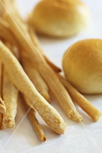Handmade grissini and bread rolls