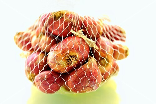 Shallots in a net