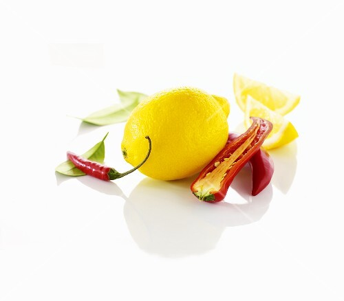 Lemon and chili peppers