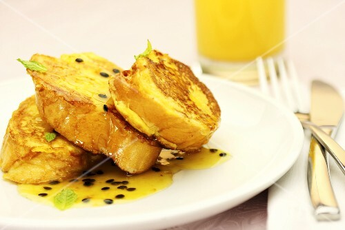 French toast with passion fruit sauce