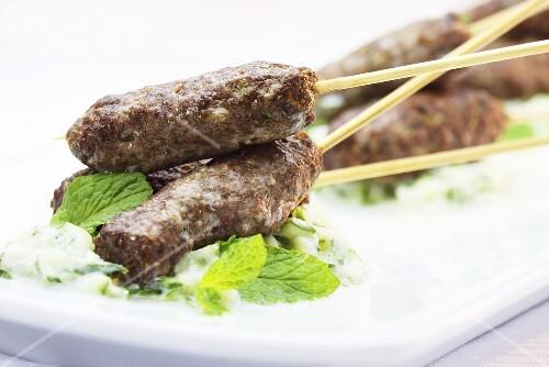 Lamb kofte with tzatziki and mint