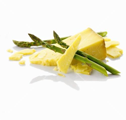 Cheddar and green asparagus