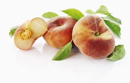 Vineyard peach with leaves