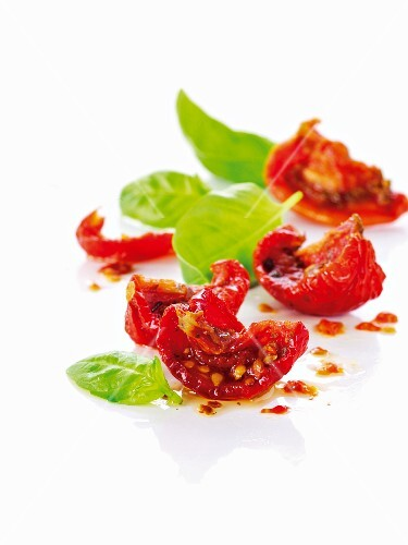 Dried tomatoes and fresh basil