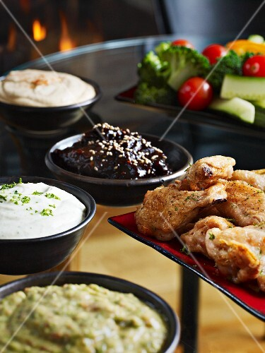 Chicken wings with various dips